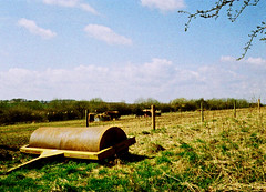 op - lawn roller (johnnytakespictures) Tags: summer sun film nature field sunshine pen fence lomo xpro lomography crossprocessed natural leicestershire farm crossprocess lawn olympus 200 land roller analogue halfframe beaconhill loughborough paddock colorslide ee3 chapelfields