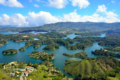 Guatap (Gedsman) Tags: houses vacation lake holiday church southamerica water beautiful rock america islands town scenery colombia waterfront cathedral south traditional colonial culture tradition fresco cultural lapiedra frescoes zocalos guatape penol