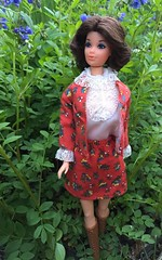 Steffie's new duds (Foxy Belle) Tags: vintage barbie steffie face walk lively miss america suit mod best buy red floral lace collar garden flower outside nature doll mattel brunette 1970s