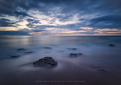 Smoothed Rush.. (LoneWolfA7ii) Tags: blue light sea sky orange art beach water yellow clouds scotland seaside sand rocks sony ships aberdeen shore a7ii