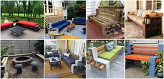 10 Amazing Cinder Block Benches (irecyclart) Tags: wood bench recycled top cement best patio block cinder