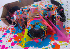 Crayola3 (to.photography) Tags: camera pink blue orange color yellow photography colorful purple magenta olympus strap cannon wax crayon melted oldcamera crayola owens meltedcrayon tophotography taylorwowens