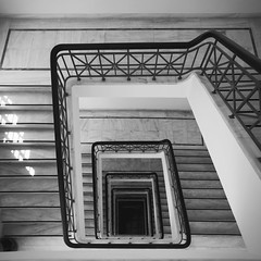 layers (panos deoudes) Tags: city blackandwhite building stairs floors square spiral athens indoors greece staircase