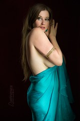 Rio (austinspace) Tags: portrait woman scarf nude washington dance spokane veil dress bellydancer naturallight auburn redhead redroom scarve