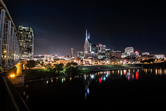 Nashville (Mark Wingfield) Tags: city bridge sky reflection water skyline night john river outside outdoors lights star evening lowlight nikon long exposure cityscape nashville tennessee tripod wide pedestrian tokina adventure 16mm cumberland d610 seigenthaler