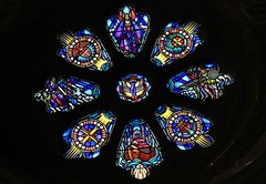 Stained Glass - St. Davids Cathedral 160516 (1) (Richard Collier - Wildlife and Travel Photography) Tags: southwales religious religion stainedglass stained historical pembrokeshire stainedglasswindow churchwindows