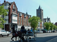 Happy Tourist (mikecogh) Tags: horse dublin happy churchtower tourists cart waving