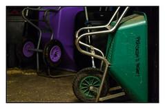 Stable Stuff: Wheelbarrows (Eline Lyng) Tags: stable stuff wheelbarrow indoor horsestable leica leicas 007 summarits70mm summarit mediumformat stilllife bokeh dof