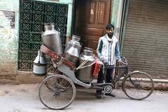Milkman (Mayank Austen Soofi) Tags: man milk delhi rickshaw puller walla