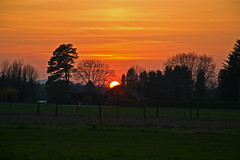 Sunset in the countryside (echumachenco) Tags: trees sunset sky sun house field germany bayern deutschland bavaria sonnenuntergang feld himmel haus april sonne bume freilassing hofham nikond3100