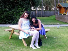 Stocking check (Paula Satijn) Tags: blue sexy stockings girl garden fun shiny pumps purple legs silk skirt tgirl tranny transvestite heels satin miniskirt gurl silky