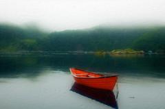 Dory in Gaultois , NL (Rick Gravelle) Tags: fog newfoundland nikond70 scenic nik southcoast dory topaz iphotooriginal outport gaultois orangedory bestofblinkwinners