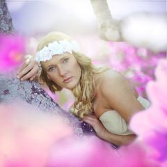 """The earth laughs in flowers."" - Ralph Waldo Emerson (rachelizabethh) Tags: pink flowers portrait flower tree girl project photography 50mm spring branch bokeh week crown edit 52"