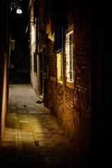 Venice at night (aikibassoon) Tags: venice light window night alley nikon outdoor colored narrow venedig d800