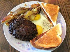 Two Eggs and a Hamburger Patty (knightbefore_99) Tags: classic breakfast vancouver restaurant toast egg tasty diner browns hamburger sunnyside hash eastvan institution bons offbroadway