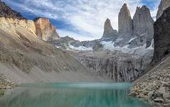 Torres del Paine (Pavla Frysova) Tags: chile park travel blue summer patagonia lake mountains nature water rock del clouds america trekking landscapes afternoon hiking south glacier national torres paine