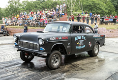 """The """"Bow Tie Buzzard"""" '55 Chevy gasser (Thumpr455) Tags: auto black classic chevrolet car sport speed vintage automobile traditional bowtie nostalgia chevy autoracing 55 dragracing gasser straightaxle greerdragway afnikkor1635mmf4vr southeastgassers bowtiebuzzard southcarolinaapril2016"""