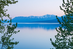 Serene (Philina_) Tags: park sunset red mountain lake snow nature forest landscape montana glacier national mcdonald