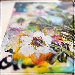 Mixed Media Art in progress (Roben-Marie) Tags: flowers abstract collage painting acrylic mixedmedia layers robenmarie