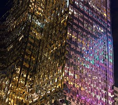 Color Noise (chantsign) Tags: windows light abstract building colors night skyscraper colorful saturation displacement