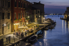 Night scene (Eduardo_il_Magnifico) Tags: travel venice light italy holiday building water night restaurant canal twilight lowlight italia darkness nightscene bluehour sigma1770mm nikond7000