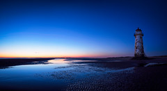 Event Horizon - Talacre Beach (Geoff Moore UK) Tags: ocean morning blue sea lighthouse beach wet sunrise outdoors cool sand dunes smooth calm fresh adventure remote bluehour navigation releflective