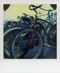 hermosa bikes (broaddaylight) Tags: polaroid sx70 instant hermosabeach timezero expiredfilm polaroidtimezero expired06 dreaminginfilm yearofzero