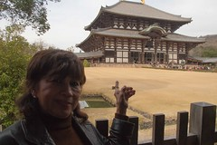 Nara, Mom and Me (Quad Dimensional Pictures) Tags: park japan garden march shrine tour treasure buddhist capital steps historic deer temples lanterns cherryblossoms nara buddah incense toriigate 2016 silkadeer johncarkeet marinacarkeet