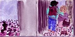 lang sei der Weg und steinig. Dabei war alles eben. Viel Staub war da allerdings und war der nicht auch einmal Steine gewesen (raumoberbayern) Tags: sketchbook skizzenbuch tram munich mnchen bus strasenbahn herbst winter fall pencil bleistift paper papier robbbilder stadt city landschaft landscape auto car kopftuch veil