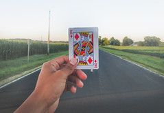 Day 198- Games (IsJacobi) Tags: cards country road blacktop grass hand outside