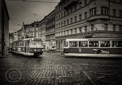 Prague Jan 2015 (5) 078 - This job drives me around the bend (Mark Schofield @ JB Schofield) Tags: street new old city travel white black wet public monochrome sepia town europe republic czech prague little transport tram streetlife praha rack commute infrastructure stare quarter bloc cobbles eastern mala boarding packed tatra