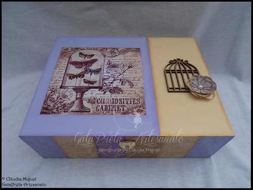 """Caixa para 12 relógios e caixa de maquilhagem """"Vintage Lilac Paris"""""""