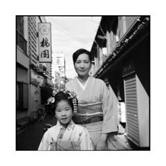 on their way • tokyo, japan • 2014 (lem's) Tags: street woman japan rolleiflex tokyo child femme rue enfant japon kimonos