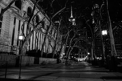 Pacificity in the City. (kaitlingee) Tags: park nyc newyorkcity trees blackandwhite bw newyork night solitude manhattan library nypl newyorkpubliclibrary midtown nighttime empirestatebuilding bryant bryantpark nycnights