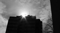 Höchststand (rgruen) Tags: blackandwhite bw skyscraper lumix sonne bielefeld sonnenstrahlen hochhaus ostwestfalen sennestadt