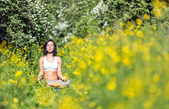 Young woman doing yoga outdoor (Maverick (Dima Fadeev)) Tags: life summer people woman sunlight flower sports nature beautiful beauty smiling yoga female rural training landscape outdoors person concentration spring healthy women view exercise action body young sunny human meditating leisure spirituality activity relaxation fitness enjoyment position flexibility lifestyles greengrass wellbeing vitality exercising