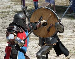 Shield to the face (taddzilla) Tags: florida helmet plate knights armor sword shield swords medival allrightsreserved 2015 deerfiledbeach thefloridarenaissancefestival historyofchivalry