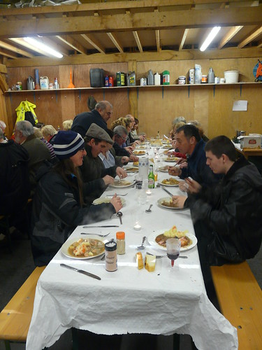 Jan 14 New Year meal in the (cold) barn