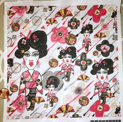 Geisha in the Garden, large scale, 8x8 inch test swatch on basic cotton ultra. (sassyone2013) Tags: flowers wallpaper people floral rain japan umbrella wrapping paper asian japanese japanesegarden design fan women asia sewing crafts wrap fabric gift parasol geisha indie quilting designs oriental crafting zengarden spoonflower