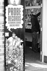 Probe (cathbooton) Tags: city blackandwhite music records building shop liverpool canon shopping 50mm amazing vinyl doorway discs astounding proberecords