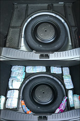 "Nappy packing (Sheep""R""Us) Tags: england london car wheel boot unitedkingdom gb trunk spare nappies tooting"