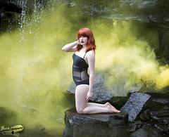 Smoke and Mirrors (Laynachu) Tags: black yellow canon ginger waterfall model rocks modeling smoke redhead canon5d lipstick onepiece swimsuit bathingsuit smokebomb jeffreestar canon5dmarkiii