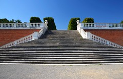 Up or down? (Miki216) Tags: blue red sky white castle history architecture stairs austria bricks steps perspective step banister schlosshof