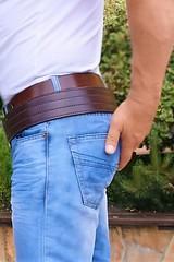R17 (armybelt007) Tags: domination crotch bulge beltfetish malebutt leatherbelt leatheranddenim wideleatherbelt armybelt militarybelt leatherandjeans beltinjeans sheriffbelt