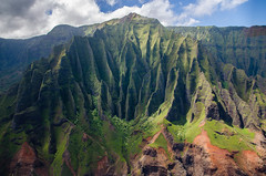 Na Pali Coast view (Lena and Igor) Tags: kauai island hawaii us usa napali coast green rocks blue sky clouds shadows sunspots travel america scenic dslr nikon d7000 sigma 1770 telephoto zoom landscape mountains