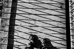 I came across.... (mripp) Tags: lines linien black white mono monochrom walking walk laufen scheme shoes art kunst poster positive urban city stadt leica q