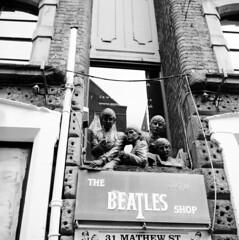 The Beatles (rotabaga) Tags: greatbritain england blackandwhite bw 120 6x6 liverpool mediumformat lomo lomography lubitel166 tmax100 svartvitt r09 mellanformat bwfp