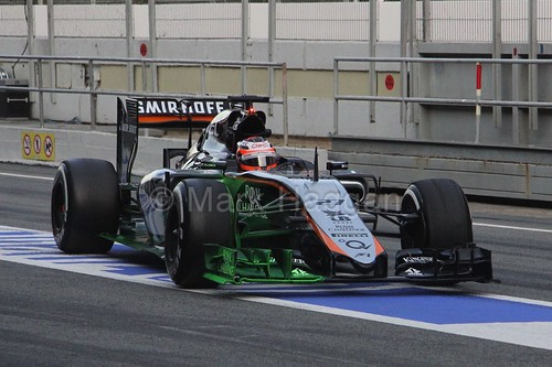 Nico Hulkenberg with aero paint on his Force India in Formula One winter testing 2015