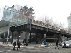 New West Side Downtown Whitney Museum of American Art 8532 (Brechtbug) Tags: the high line snow covered railroad overpass tracks nowhere park highline new york city 2015 nyc 03072015 street former rail road garden path walk way elevated el remodeled derelict urban reclamation boardwalk skyway pedestrian balcony mezzanine streets midtown downtown meat packing district west side manhattan transportation design redesign architecture art gallery march winter mini blizzard whitney museum american