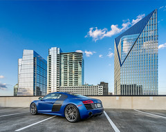 2015 R8 V10+ (Foto Fresh) Tags: city blue atlanta sky 3 rooftop car georgia private photography design downtown skies sony parking citylife lot mount midtown cap e porn highrise hyatt plus fe audi buckhead supercar a7 matte v10 exhaust kw coilovers variant r8 2015 2470 a7ii capristo adv1 a7r 20x12 sepeng